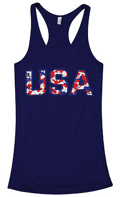 Red Racerback Tank Top - Red White & Blue Camouflage USA Women's Racerback Tank Top US Pride