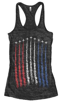 Red Racerback Tank Top - Threadrock Women's Red White Blue Air Force Flyover Burnout Racerback Tank