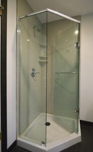Glass shower doors and hardware.