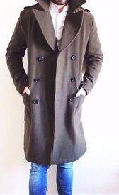 Mens RIVER ISLAND Small khaki military coat all wool lapel saints double breast burberry