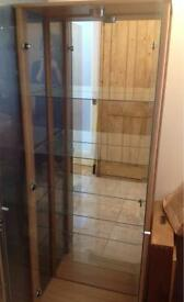Glass Display Cabinet Mirrored Backed and Lit