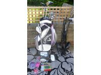 Half Set of Ladies Callaway Solaire Gem Golf Clubs Plus Cart and Extras