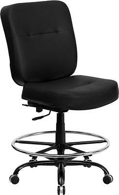 Hercules Series 400 Lb. Capacity Big Tall Black Leather Drafting Stool With Ex