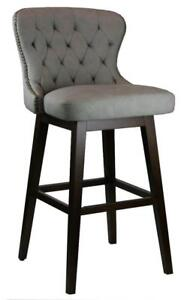 27 Tufted Swivel Barstool in Grey with Antique Brass Nail Head Trim - ON Clearance