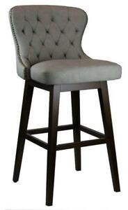 34 Tufted Swivel Barstool in Grey with Antique Brass Nail Head Trim - ON Clearance