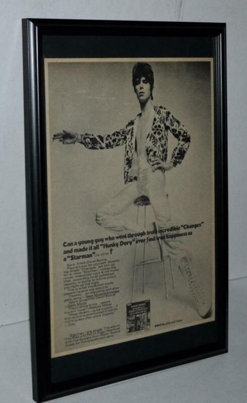 DAVID BOWIE 1972 RARE ZIGGY STARDUST CHANGES HUNKY DORY FRAMED PROMO POSTER / AD