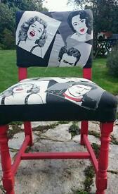 Stunning retro pop art chair. Upcycled