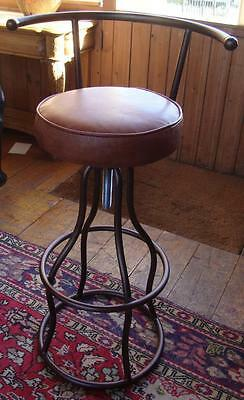 Brown Leather Bar / Counter Stool / Chair - Breakfast Bar Industrial Metal Frame