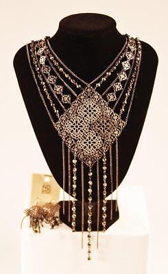 Necklace & Earrings Set Premium Fashion Jewelry Black Silver Tone JXFU New