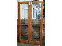 Hardwood Patio Doors Double glazed French windows. High quality with fittings 43 x 75 inches approx