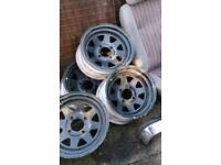 "4x108 13"" 7.5 j 5x weller steel wheels ford ect"