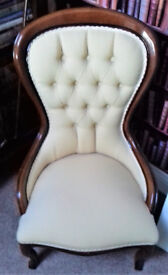 "REPRODUCTION MAHOGANY VICTORIAN STYLE NURSING CHAIR NEW COVERING 35"" HIGH."