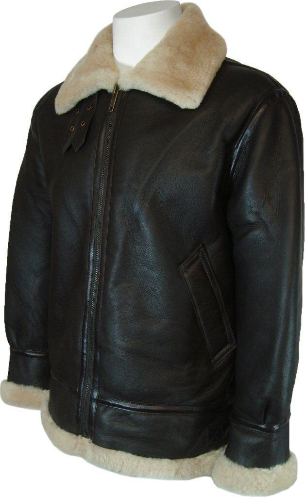 Mens B3 Sheepskin Cream Aviator Flying Jacket (xs-4xl)