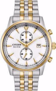 Citizen CA7004-54A Mens Eco-Drive Corso Two Tone White Dial Chronograph Watch