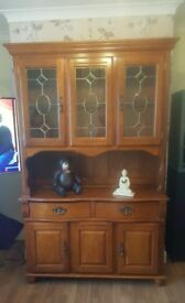Wooden Pine Cabinet With hutch