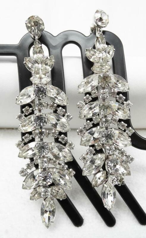 "Vintage Marquise Crystal Rhinestone LONG 4"" Drop Chandelier Dangle Clip Earrings"