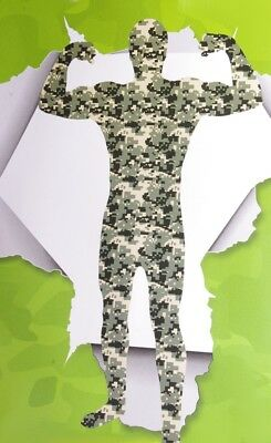 Mens Army Camo Camouflage Tight Suit Halloween Costume Skin Suit Bodysuit M NEW](Army Costume Mens)
