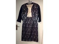 Shubette - HouseofFraser Dress with short Jacket Navy Lace-Creamy Size 10