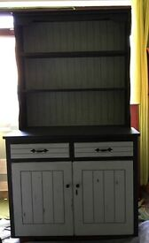 Welsh dresser: hand painted, sanded, distressed and waxed. One of a kind, distressed dresser.