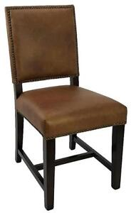 Dining Room Kitchen Chairs, 100% Genuine Top Grain Leather in Antique Brown, Black or Dark Taupe