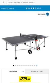 Table tennis table.