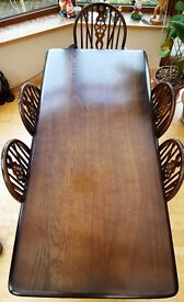 Offers for Priory Dining Table and 6 Wheel Back Priory Chairs, 2 of which are Carver