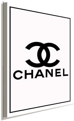 CHANEL Logo Schwarz Weiß Leinwandbild AK ART Kunstdruck Wandbild Wanddeko XXL (Chanel Leinwand Bild)