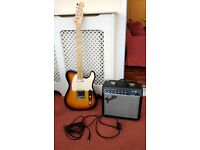 J&D Luthier Telecaster Electric Guitair + Fender Frontman 15G Amplifier