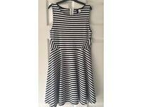 H&M Black & White Stripe Dress, Size Small (8-10)