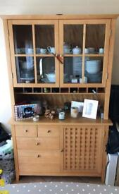 Pine kitchen sideboard with hutch top dresser, large table with 6 chairs