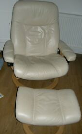 Ekornes Stressless Ambassador Reclining Chair and Footstool