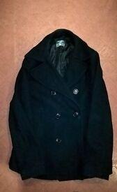 H&M double breasted pea coat. black. extremely warm. UK medium