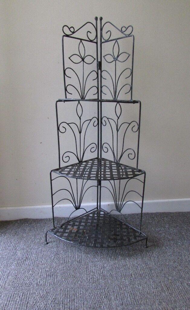 Metal 3 Tier Corner Kitchen Pot Rack Bookshelf Garden Plant Stand Indoor Outdoor Foldable Display