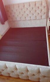 Kingsize Beige Chenille/Diamonte Ottaman bed frame