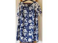 Dress, Navy Blue n White