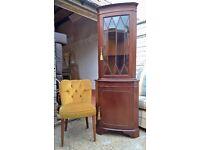 Mahogany Corner Cabinet ~ Ornate Key Locks ~ *INC DELIVERY* (dresser sideboard shabby chic oak pine)