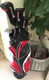 Slazenger Panther X golf clubs, golf bag with detachable rain hood and golf trolley