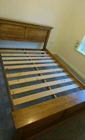 Solid wood bed frame and chest of drawers