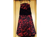 elegant cocktail dress (fully lined) red with black lace details and tulle hem. Size 16