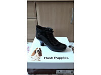 Hush Puppies Viviana black leather and suede ankle boots
