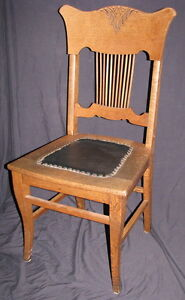 ANTIQUE OAK SPINDLE BACK CHAIR, HAND CARVED INLAY DESIGN