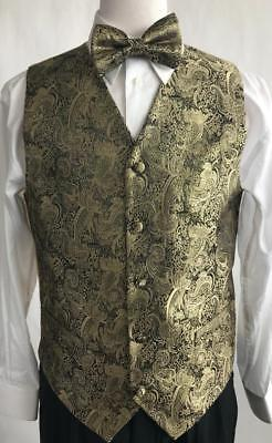 Men's Suit Tuxedo Dress Vest Necktie Bowtie Hanky Metallic Gold Paisley VS809 - Gold Tux