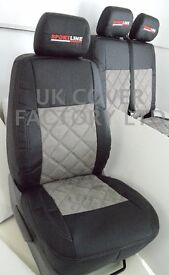 VW TRANSPORTER T5 VAN SEAT COVERS GREY QUILTED ALCANTARA BLACK LEATHER GREY STITCH + EMBRODIERY