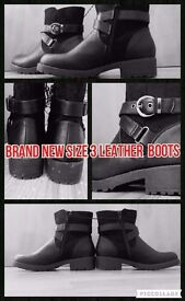 GORGEOUS BRAND NEW SIZE 3 BLACK LEATHER WATERPROOF BOOTS