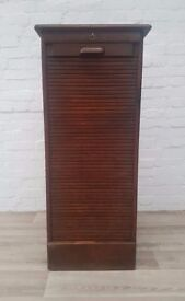 Vintage Oak Tambour Cabinet (DELIVERY AVAILABLE FOR THIS ITEM OF FURNITURE)