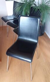 Set of 4 Black / Chrome Dining Chairs - Genuine Leather