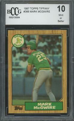 1987 Topps Tiffany #366 Mark Mcgwire Mint Or Better BCCG 10