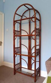 Conservatory High Quality Rattan Display unit with four glass shelves Very unusual