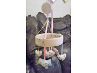 Baby Girls pink and white cot bale & matching musical rotating mobile from Mothercare