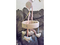 Baby Girls matching cot bumper & musical rotating mobile from Mothercare